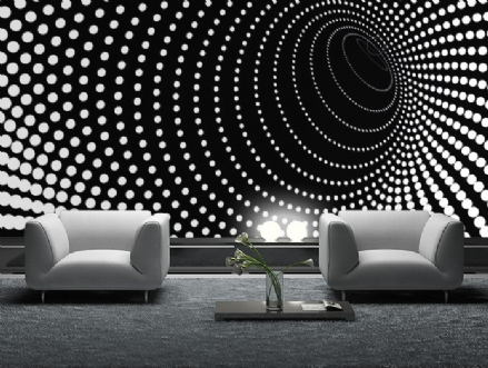 Black twisted dots wall mural wallpaper